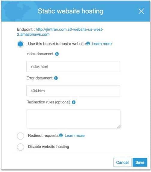 Bucket Configuration S3 for static website hosting