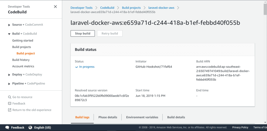 CodeBuild building a docker image